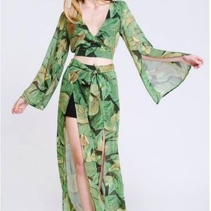 Tropical Print Pant Set with Belle Sleeve